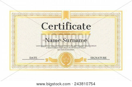 Certificate Template Editable Name And Surname, Date And Signature, Realistic Certificate Sample In