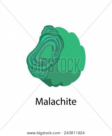 Malachite Copper Carbonate Hydroxide Mineral, Opaque, Green Banded Mineral Crystallizes In The Monoc