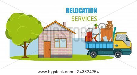 Relocation Service. Moving Concept. Cargo Truck Is Transporting Things Near The House With A Tree. D