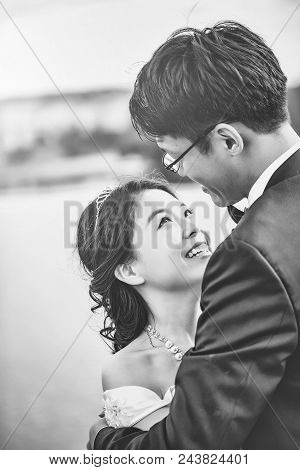 Happy Chinese Couple. Couple In Love.. Chinese Cute Bride And Groom Young Newlyweds Just Married Cou