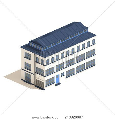 Isometric Workshop Or Loft Building Isolated On White Background