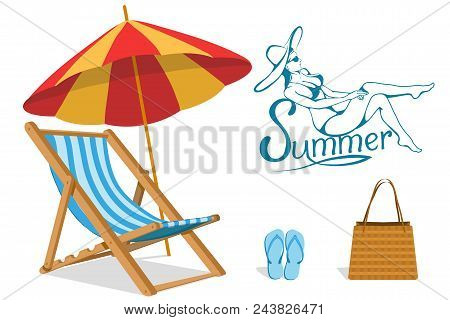 Set For Summer Vacation Design - Chaise Longue, Beach Slippers, Beach Bag, Umbrella Protecting From