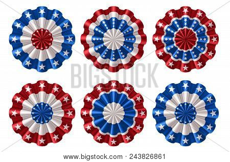 Set Of American Bunting, Rosette Decoration Elements, Eps 10 Contains Transparency.