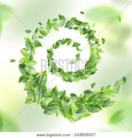 Green Leaf Raster 3d Background. Creative Lush Greenery Summer Pattern With Ficus Leaves Or Tea Leav