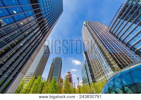 London, United Kingdom - April 20: Modern Skyscrapers In The Canary Wharf Financial District On Apri