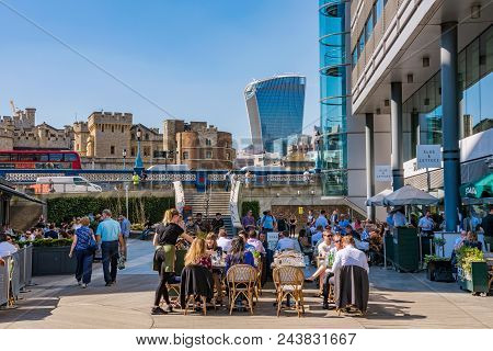 London, United Kingdom - April 19: Busy Cafes And Restaurants In St Katharine Docks, A Famous Commer