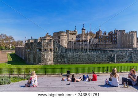 London, United Kingdom - April 19: This Is A View Of The Famous Tower Of London  An Historic Landmar
