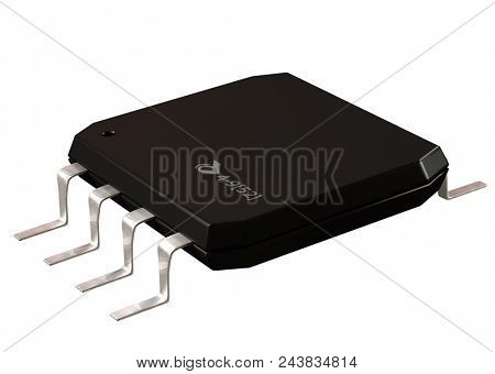 Integrated circuit or micro lowpass chip and 8 order pin circuit design isolated. Computer parts artificial intelligence component of digital virtual reality . 3d rendering.