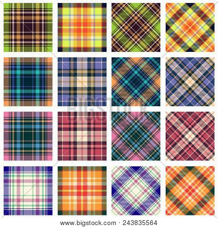 Plaid Patterns Collection, 16 Seamless Tartan Patterns In Various Orientation