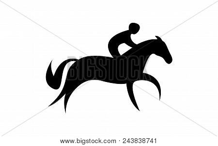 Simplified Horse Race.  Equestrian Sport. Silhouette Of Racing Horse With Jockey. Jumping. First Ste