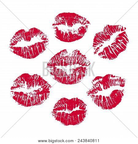 Set Of Red Lip Prints On White Background, Red Lips Imprint For Your Design. Vector Illustration