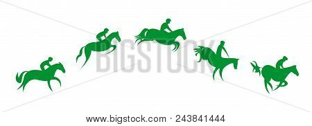 Simplified Horse Race. Equestrian Sport. Silhouette Of Racing Horse With Jockey. Jumping. Five Steps