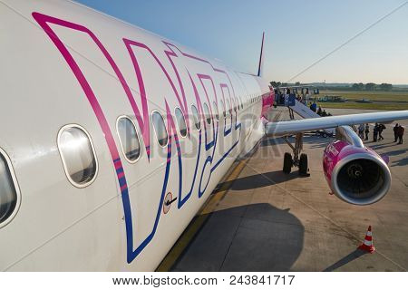 BUDAPEST, HUNGARY - APRIL 28:, 2018 Wizzair airliner at Budapest Liszt Ferenc Airport, Airbus A321 with the new company logo