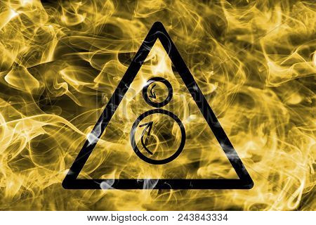 Counter Rotating Roller Hazard Warning Smoke Sign. Triangular Warning Hazard Sign, Smoke Background.
