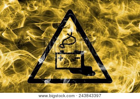 Danger From Loading Batteries Hazard Warning Smoke Sign. Triangular Warning Hazard Sign, Smoke Backg