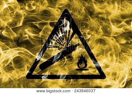 Pressurized Cylinders Hazard Warning Smoke Sign. Triangular Warning Hazard Sign, Smoke Background.
