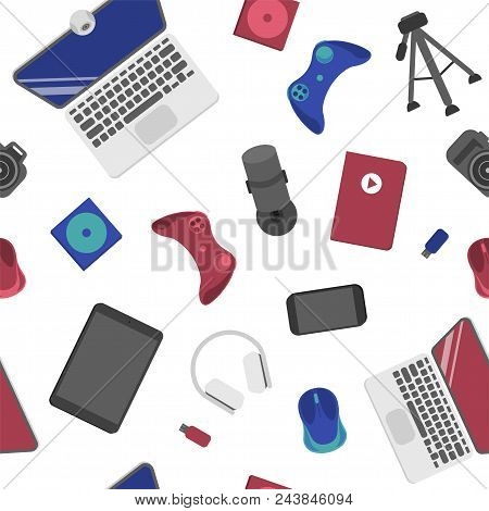 Seamless pattern with joystick, laptop, computer mouse, webcam and other electronics poster