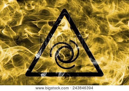 Remotely Started Equipment Hazard Warning Smoke Sign. Triangular Warning Hazard Sign, Smoke Backgrou