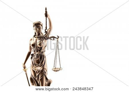 Blind Justitia with Libra as a symbol of justice and justice