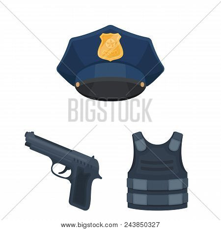 Police, Department Cartoon Icons In Set Collection For Design.detective And Accessories Vector Symbo