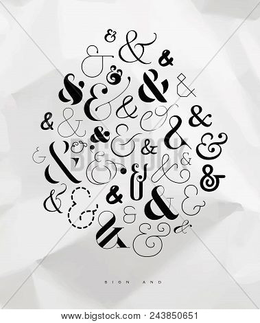 Poster Hand Drawn Decoration Symbols Ampersand Drawing On Crumpled Paper Background