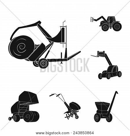 Agricultural Machinery Black Icons In Set Collection For Design. Equipment And Device Vector Symbol