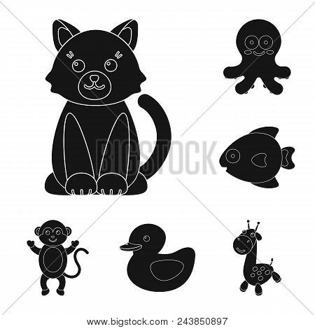 An Unrealistic Black Animal Icons In Set Collection For Design. Toy Animals Vector Symbol Stock  Ill