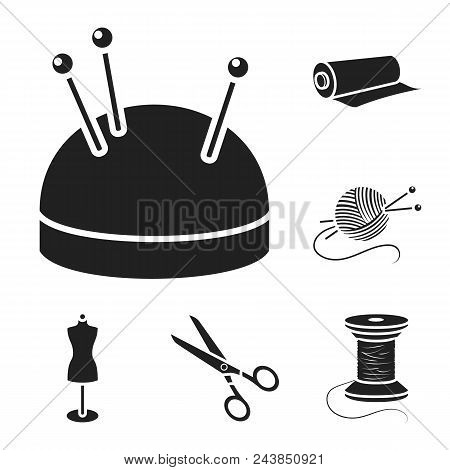 Atelier And Sewing Black Icons In Set Collection For Design. Equipment And Tools For Sewing Vector S