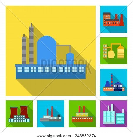 Factory And Facilities Flat Icons In Set Collection For Design. Factory And Equipment Vector Symbol