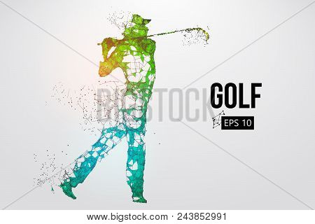 Silhouette Of A Golf Player. Dots, Lines, Triangles, Text, Color Effects And Background On A Separat