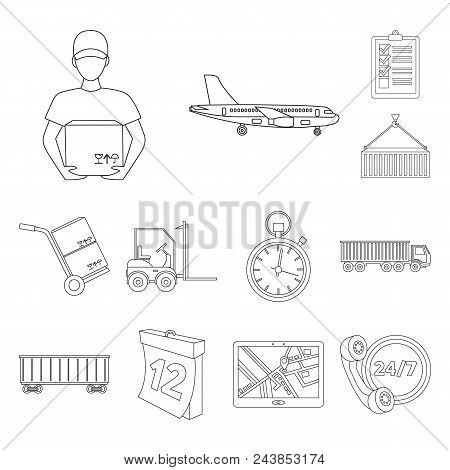Logistics Service Outline Icons In Set Collection For Design. Logistics And Equipment Vector Symbol