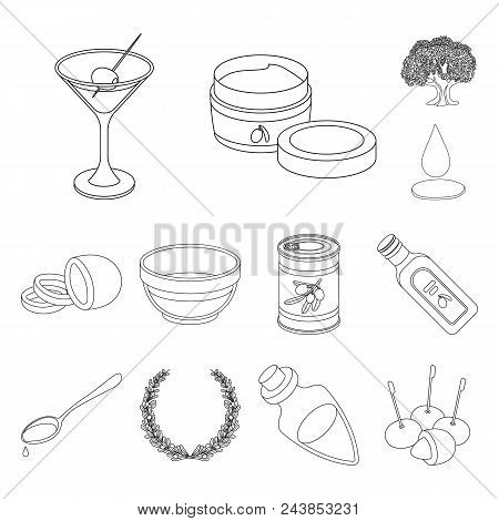 Olive, Food Outline Icons In Set Collection For Design. Olive Oil, Seasoning Vector Symbol Stock  Il
