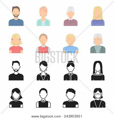 Red-haired Boy, Teen Girl, Grandmother Wearing Glasses.avatar Set Collection Icons In Black, Cartoon
