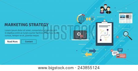 Marketing Strategy, Advertising And Business. Team Work, Communication And Business Icons. Marketing