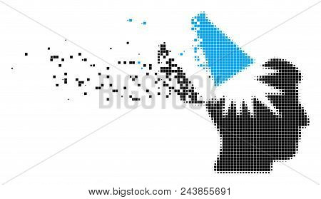 Dispersed Open Brain Megaphone Dotted Vector Icon With Wind Effect. Rectangle Dots Are Combined Into