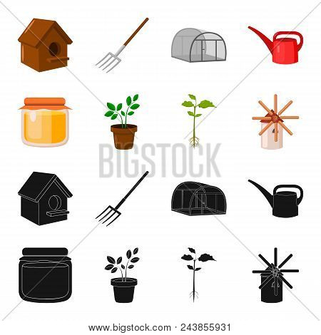 Honey Bank, Plant, Mill.farm Set Collection Icons In Black, Cartoon Style Vector Symbol Stock Illust