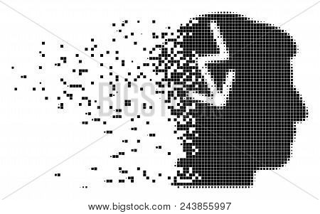 Fractured Brain Electric Strike Dotted Vector Icon With Destruction Effect. Square Pixels Are Combin