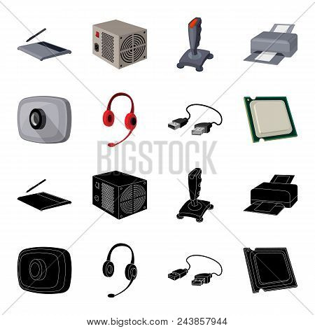 Webcam, Headphones, Usb Cable, Processor. Personal Computer Set Collection Icons In Black, Cartoon S
