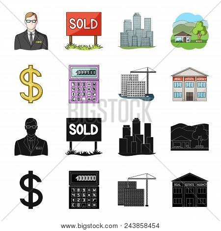 Calculator, Dollar Sign, New Building, Real Estate Offices. Realtor Set Collection Icons In Black, C
