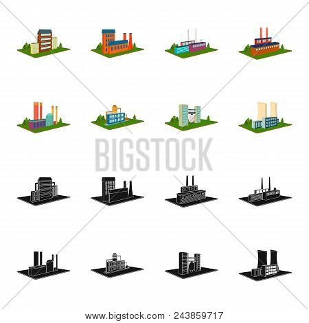 Processing Factory, Metallurgical Plant. Factory And Industry Set Collection Icons In Black, Cartoon