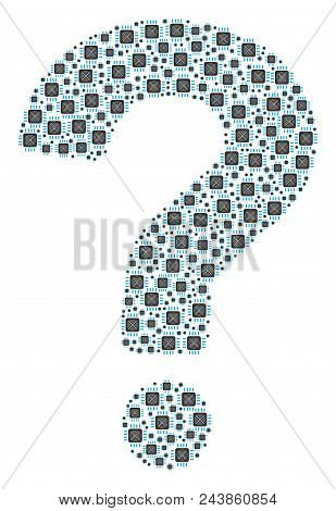Question Mark Collage Formed Of Asic Processor Objects. Vector Asic Processor Icons Are Combined Int