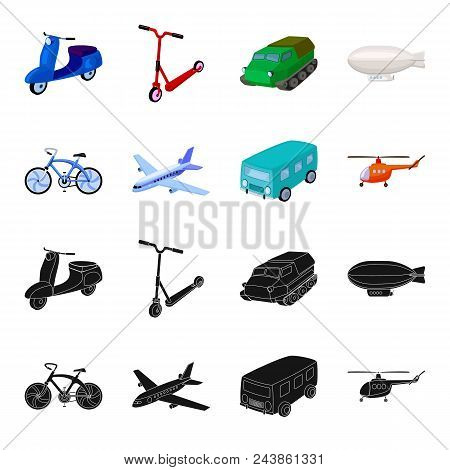 Bicycle, Airplane, Bus, Helicopter Types Of Transport. Transport Set Collection Icons In Black, Cart
