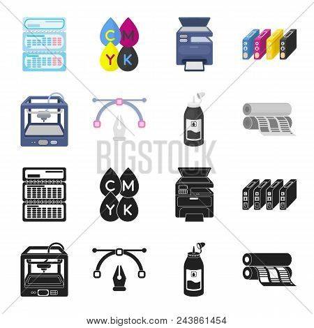 3d Printer, Newspaper Printer, Ink, Pen. Typography Set Collection Icons In Black, Cartoon Style Vec