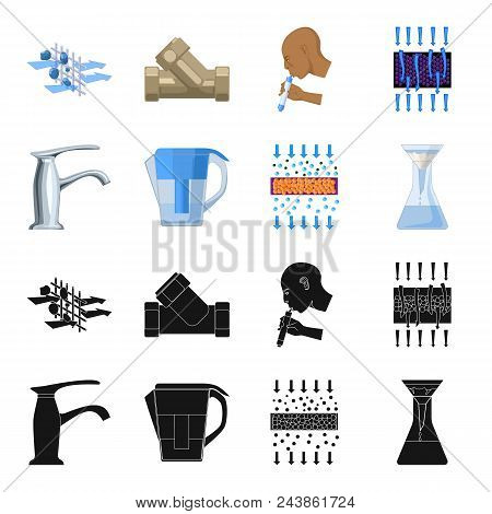 Man, Bald, Head, Hand .water Filtration System Set Collection Icons In Black, Cartoon Style Vector S