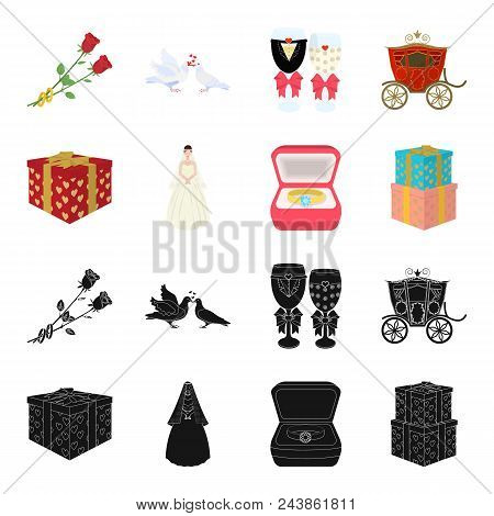 Wedding And Attributes Black, Cartoon Icons In Set Collection For Design.newlyweds And Accessories V
