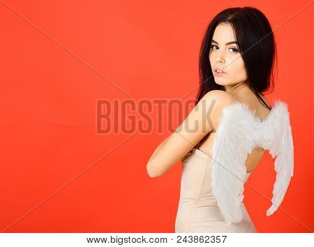 Lady Sexi Dressed As Angel, Red Background. Sexy Angel Concept. Woman On Pensive Face Play Role Game