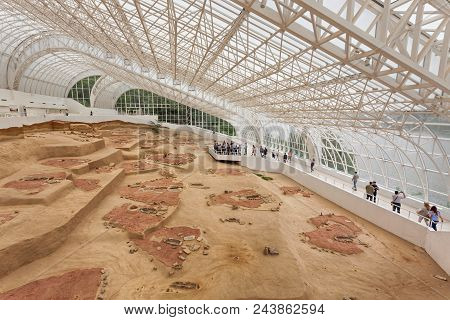 Lepenski Vir, Serbia, May 27, 2017, Archaeological Site Of The Mesolithic Iron Gates Culture Of The