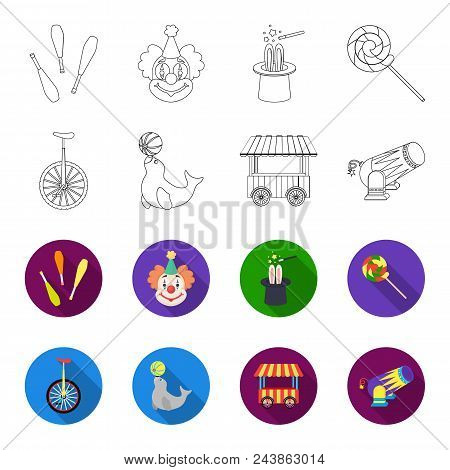 Lollipop, Trained Seal, Snack On Wheels, Monocycle.circus Set Collection Icons In Outline, Flat Styl