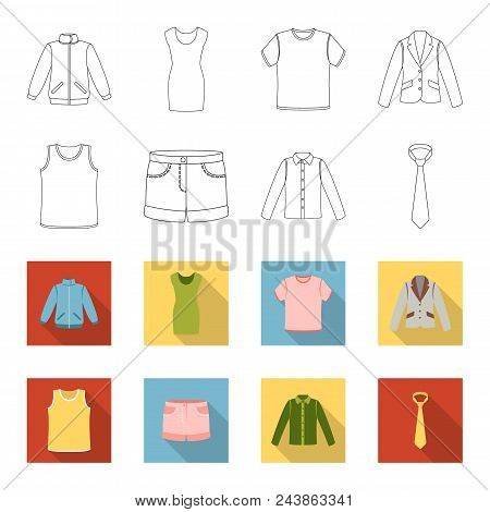 Shirt With Long Sleeves, Shorts, T-shirt, Tie.clothing Set Collection Icons In Outline, Flat Style V
