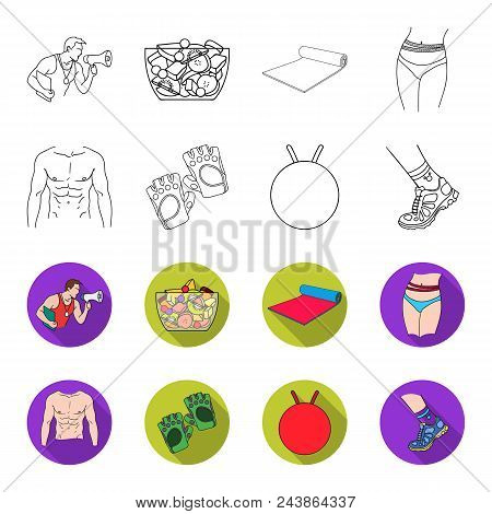 Men Torso, Gymnastic Gloves, Jumping Ball, Sneakers. Fitnes Set Collection Icons In Outline, Flat St